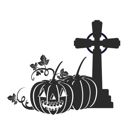 halloween celebration with pumpkins in cemetery scene vector illustration design