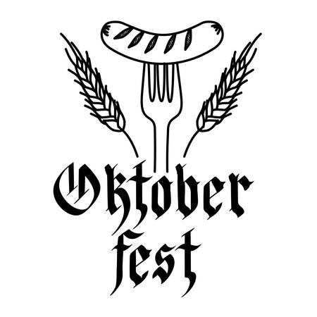 delicious sausage frankfurter in fork with wreath crown vector illustration design