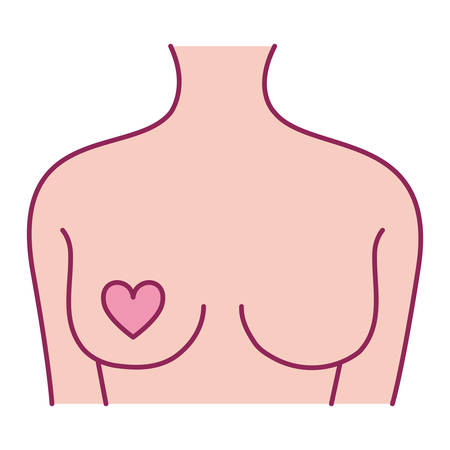 breast cancer woman body with heart vector illustration design
