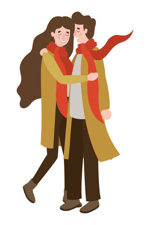 couple walking with autumn suit characters vector illustration design