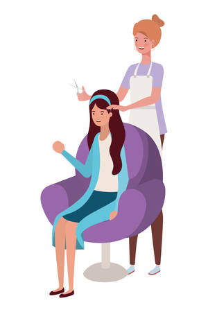 stylist fixing hair to client vector illustration design Ilustrace