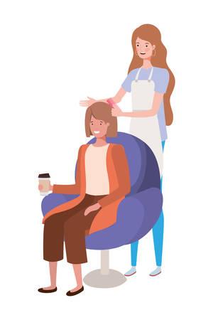stylist fixing hair to client vector illustration design Illustration