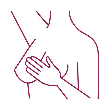 breast cancer woman body self examination vector illustration design