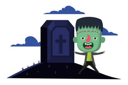 cute little boy with frankenstein costume in cemetery scene vector illustration design