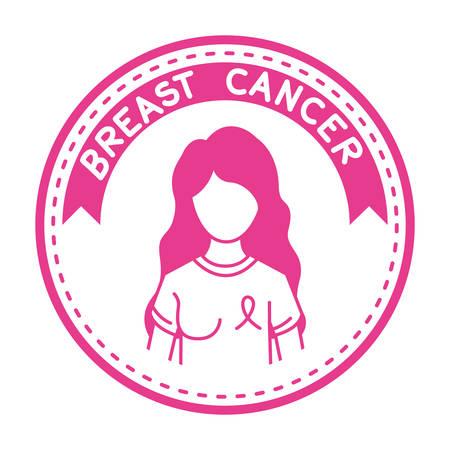 breast cancer campaign ribbon with woman vector illustration design Archivio Fotografico - 133763832