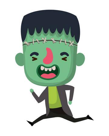 cute little boy with frankenstein costume vector illustration design