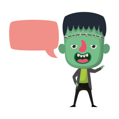 cute little boy with frankenstein costume and speech bubble vector illustration design
