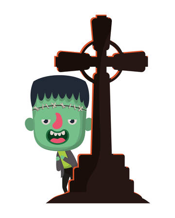 cute little boy with cross cemetery frankenstein costume vector illustration design