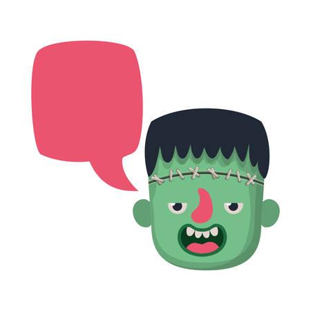 cute little boy head with frankenstein costume talking vector illustration design