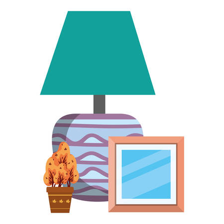 house lamp with plant and picture decorative icons vector illustration design