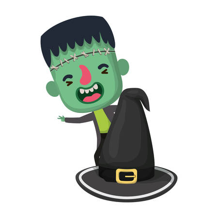 cute little boy with frankenstein costume and hat witch vector illustration design