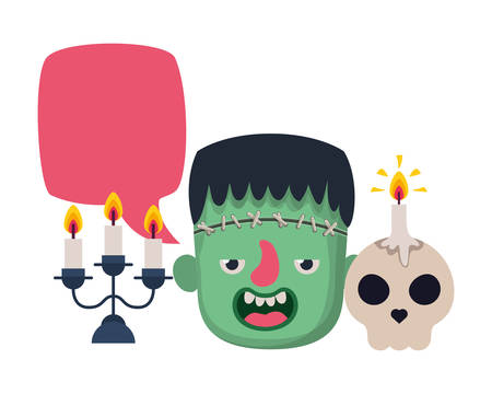 boy head with frankenstein costume talking and candles vector illustration
