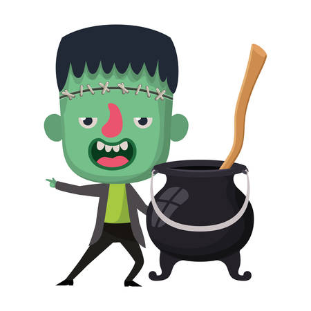 cute little boy with frankenstein costume and witch cauldron vector illustration design Illustration