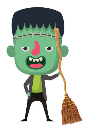 cute little boy with frankenstein costume and witch broom vector illustration design Illustration