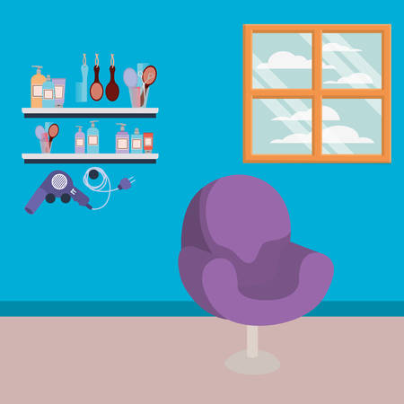 beauty salon workplace with chair scene vector illustration design