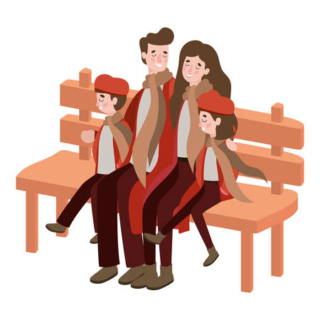 parents and kids with autumn clothes in wooden chair vector illustration design
