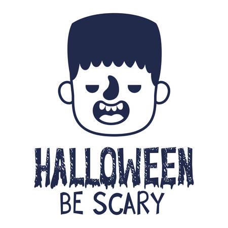 boy head with frankenstein costume and message vector illustration design