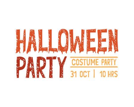 happy halloween party invitation font message vector illustration design 向量圖像