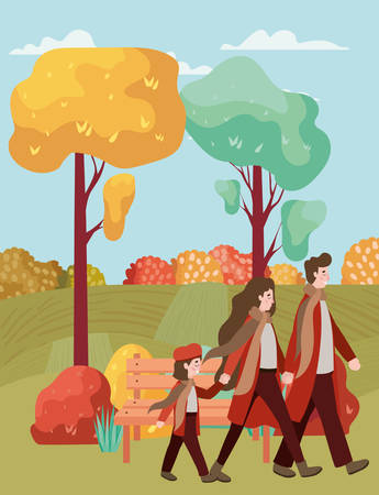 couple walking with son characters vector illustration design