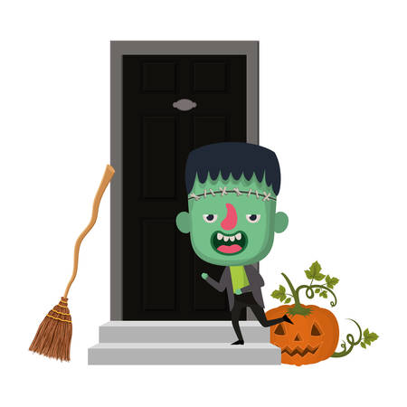 cute little boy with house door frankenstein costume vector illustration design
