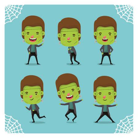 group of little boys with frankenstein costumes vector illustration design