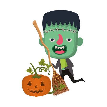 cute little boy with frankenstein costume and pumpkin vector illustration design Illustration