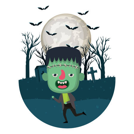 boy with frankenstein costume in dark cemetery and bats flying vector illustration