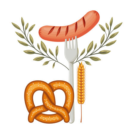 delicious sausage frankfurter in fork with pretzel vector illustration design Illustration