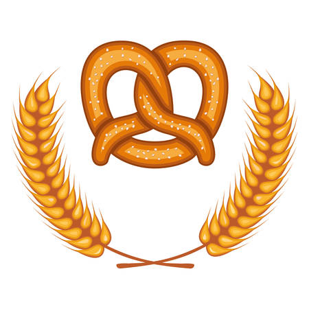 delicious pretzel with wheat spikes crown vector illustration design