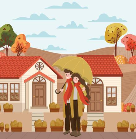 couple walking with autumn suits in the city vector illustration design Illusztráció