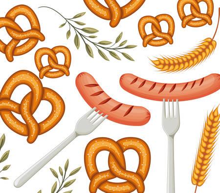 delicious sausage frankfurter in fork with pretzel pattern vector illustration design Illusztráció
