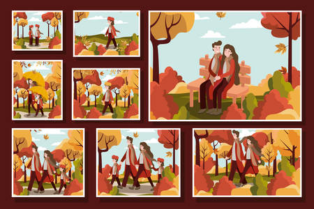 Autumn season colorful design of family and characters in the park around trees, vector illustration Ilustracja