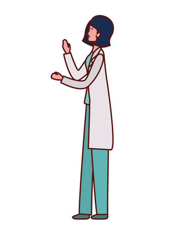 pediatrician female doctor professional character vector illustration design