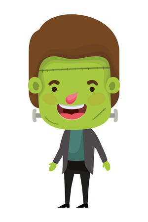 cute little boy with frankenstein costume vector illustration design