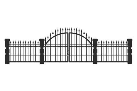 Barandillas de hierro sobre fondo blanco, diseño de ilustraciones vectoriales Ilustración de vector