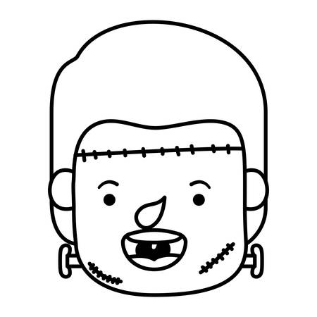 cute little boy head with frankenstein costume vector illustration design
