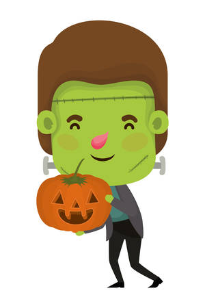 cute little boy with frankenstein costume and pumpkin vector illustration design Çizim