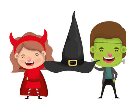 cute little kids with frankenstein and devil costume vector illustration design