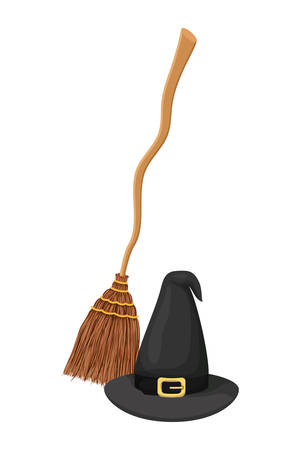 halloween witch hat and broom accessories vector illustration design
