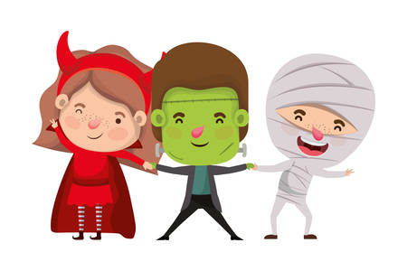 cute little kids with mummy and frankenstein costume vector illustration design Çizim