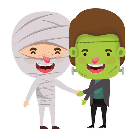 cute little boys with mummy an frankenstein costume vector illustration design