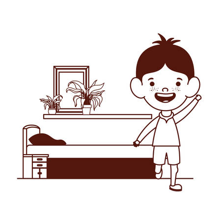 cute little boy baby in the bedroom character vector illustration design