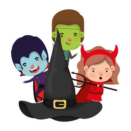 Cute little kids con sombrero bruja personajes, diseño de ilustraciones vectoriales Ilustración de vector