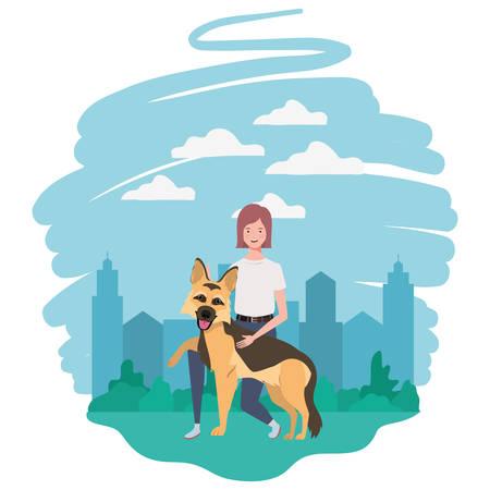 Mujer joven con lindo perro en el campo, diseño de ilustraciones vectoriales Ilustración de vector
