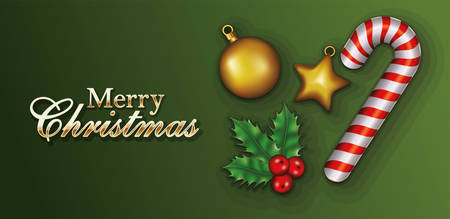happy merry christmas letterings with leafs and sweet cane vector illustration design