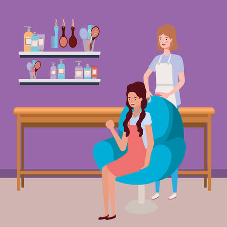 stylist fixing hair to client in the salon characters vector illustration design Ilustrace