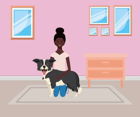 young afro woman lifting cute dog indoor the house vector illustration design