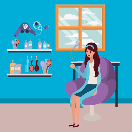 young woman seated in chair of salon scene vector illustration design
