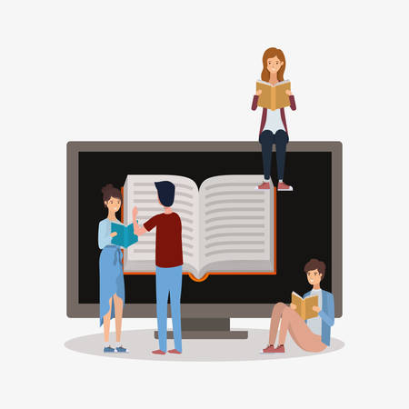 group of students reading books vector illustration design