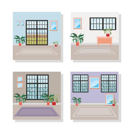 set of house indoor places scenes vector illustration design